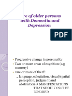 Care of Older Persons With Dementia and Depression