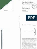 Adorno, Theodor y Horkheimer, (1986) Sociologica