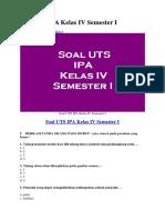 Soal UTS IPA Kelas IV Semester I.