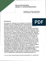 Metacognición. Metafilosofía y Epistemología - Arieta 2001