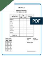 Blanko Daftar Nilai PKL