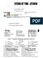 Prepositions at on in