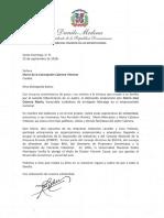 Carta de condolencias del presidente Danilo Medina a María de la Concepción Cabrera Vitienes por fallecimiento de su padre, Mario José Cabrera Morín