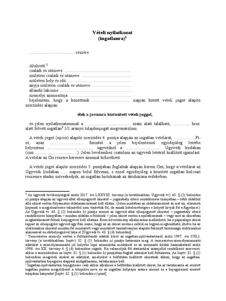 opciós szerződés példa