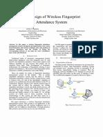 The Design of Wireless Biometric Attendance System