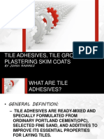 Tile Adhesives, Tile Grouts and Plastering Skim