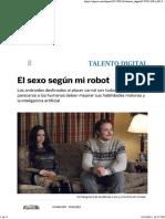 Nota - El Sexo Segun Mi Robot - La Vanguardia 16 Agosto