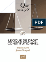 Lexique de Droit Constitionnel - Avril Pierre, Gicquel Jean