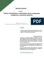 U2_Enlaces Interatomicos, Nomenclatura de Los Compuestos Inorganicos y Reacciones Quimicas