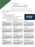 Evaluacion de Matematica 06 Calendario y Reloj