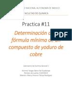 Reporte Practica #11 determinacion de la formula minima de un compuesto de cobre
