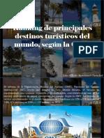 Luis Alberto Benshimol Chonchol - Ranking de Principales Destinos Turísticos Del Mundo, Según La OMT