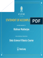 Statement of Accomplishment - Data Science R Basic Course