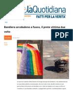 Bandiera Arcobaleno a Fuoco Il Prete Vittima Due Volte