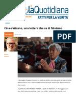 Cina Vaticano Una Lettera Che Sa Di Fideismo