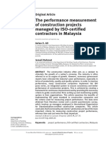 Ali, A.S. and Rahmat, I. (2010) the Performance Measurement of Construction Projects Managed by ISO-Certified Contractors in Malaysia