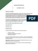 Graduate Regional Sales Executive Job Description