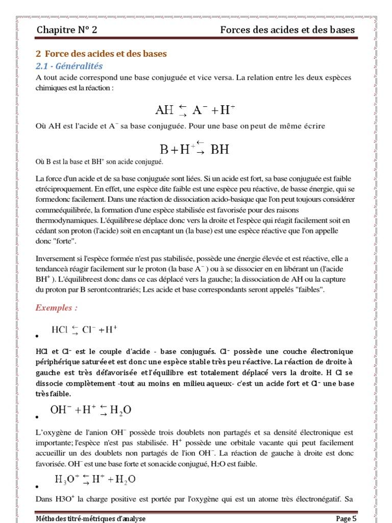 Chapitre 2 Dissociation Chimie Acide