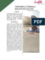 Internship at Troikaa Pharmaceuticals