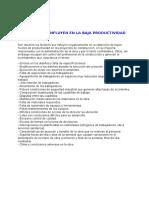 Factores Influyen en Baja Productividad