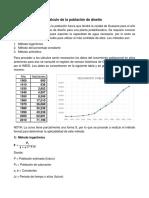 Cálculo de población de diseño y consumos a futuro