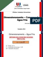 Dimensionamento a Partir Reservatório Superior Para Os Apareslhos