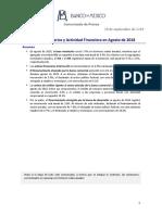 Agregados Monetarios y Actividad Financiera a Agosto de 2018