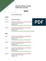 2014 Cronograma Seminarios Magíster Junguiano
