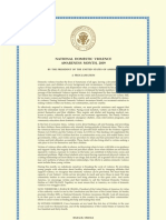 2009 Presidential Proclamation On October as National Domestic Violence Awareness Month