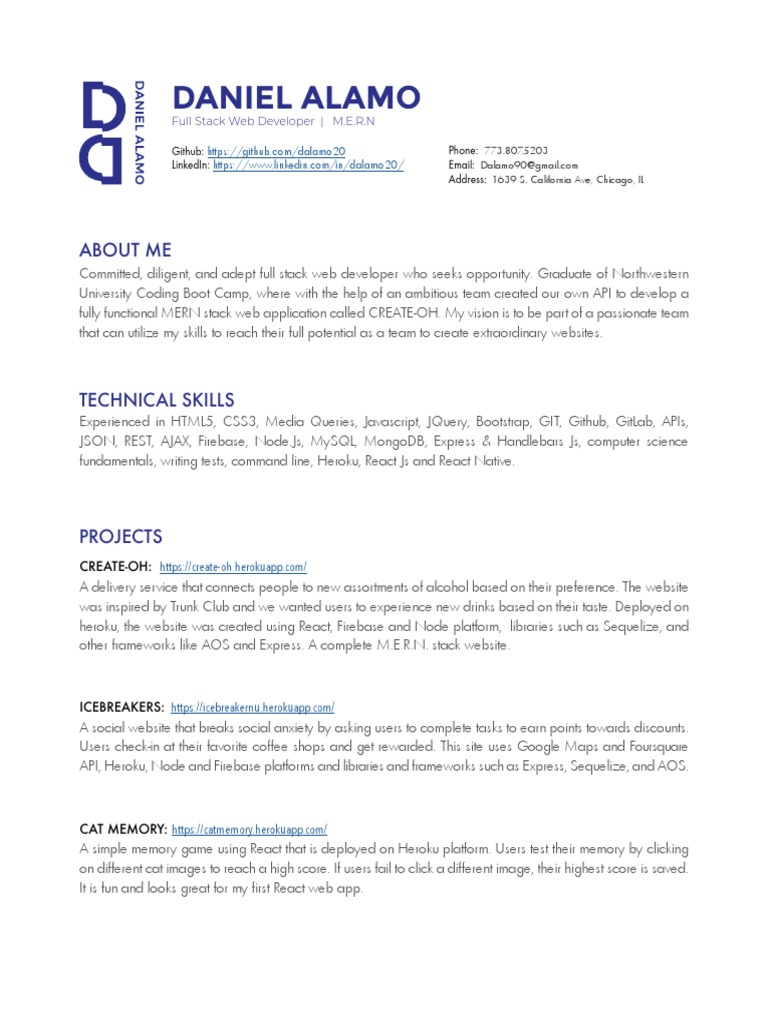 Daniel's Resume 7 2018_2 (1) | Clinical Trial | Laboratories