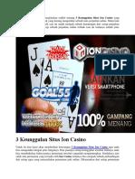 3 Keunggulan Situs Ion Casino