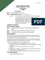City Council Regular Meeting Minutes September 11, 2018 10-02-18