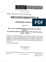 Constancia Del Centro de Salud Villa Maria Ccesa007