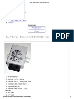 Bmw Ews 3 - Pinout and Description | Vehicle Technology | Systems  Engineering | Bmw Ews Wiring Diagram 3 |  | Scribd