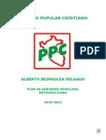 Alberto Beingolea - Partido Popular Cristiano - Plan de Gobierno - Elecciones 2018