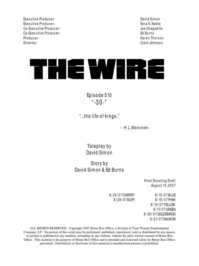 The Wire Season 5x Episode 10 Script | Baltimore Police Department ...