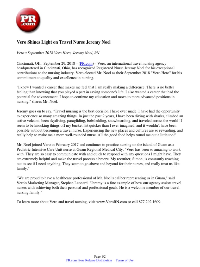 Vero Shines Light On Travel Nurse Jeremy Noel Nursing Health Care