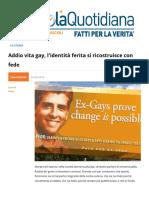 Addio Vita Gay Lidentita Ferita Si Ricostruisce Con Fede