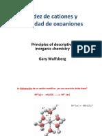 Acidez de Cationes y Basicidad de Oxoaniones