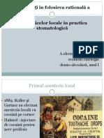 Actualitati in Folosirea Rationala a Anestezicelor Locale in Stomatologie(2)