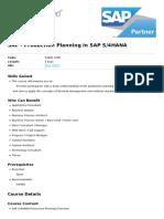 Production Planning in Sap s4hana