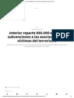 Interior Reparte 880.000 Euros en Subvenciones a Las Asociaciones de Víctimas Del Terrorismo