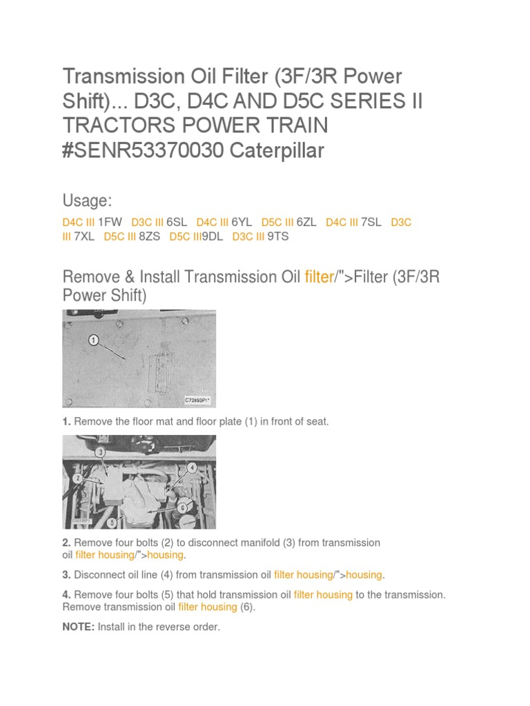 CAT D3C D4C D5C Transmission Oil Filter