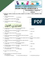 Soal UAS PAI Kelas 1 SD Semester 1 (Ganjil) Dan Kunci Jawaban (Www.bimbelbrilian.com)