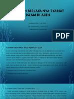 Sejarah Berlakunya Syariat Islam Di Aceh