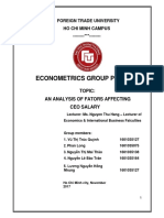 k55clc2 Econometrics an Analysis of Fators Affecting Ceo Salary