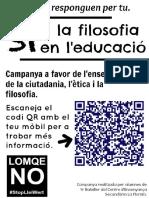 """Cartel promocional """"Si a la filosofia en l'educació"""" (en valenciano)"""
