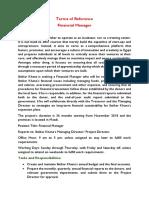 Financial Manager - ToR Job opportunity at Ibtikar Khana project