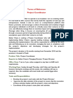Project Coordinator - ToR Job opportunity at  Ibtikar Khana project