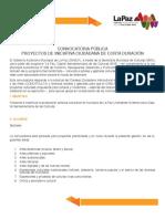 Convocatoria Pública de Proyectos de iniciativa ciudadana. La Paz Bolivia